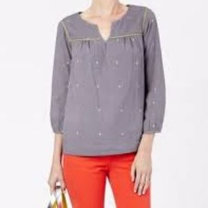 Boden Cotswold Weekend Peasant Top Gray 18